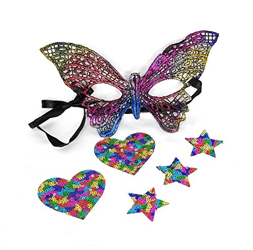 Mardi Gras Mask Kit, Butterfly Masquerade Eye Mask & Body Stickers Set (Gay Halloween Party Phoenix)