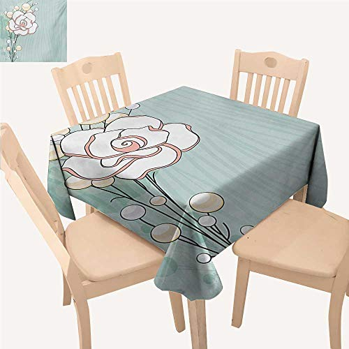 WinfreyDecor Flower Fabric Tablecloth Romantic Rose Sign of Eternal Love with Pearls The Purity Icon Print Dinning Table Covers Baby Blue White and Pink W 54