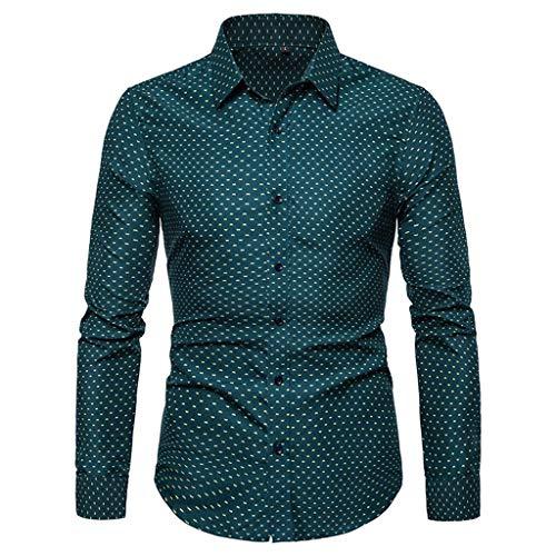 RAINED-Men's Dots Print Dress Shirt-Cotton Casual Long Sleeve Shirt Regular Fit Button Down Business Classic Fit Shirt -