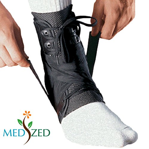 Aso Ankle Stabilizer (MEDIZED Ankle Stabilizer Brace Support Guard Protector Sports Safety Foot Strain Stirrup Compression Strap Speed Lacer Soccer Baseball Netball Volleyball (Medium))