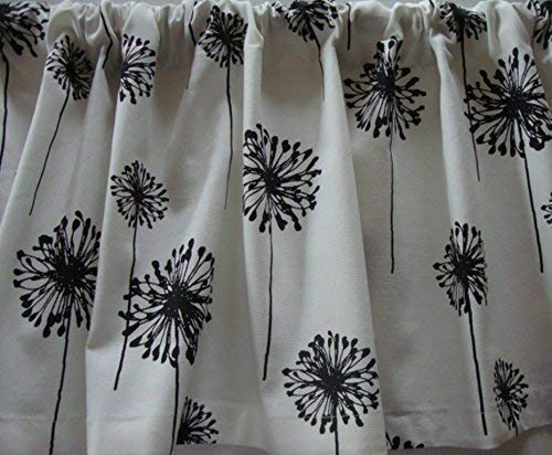 Drapes Pocket Rod Lodge (Valance Black and White Dandelion Floral Pattern Window Treatment Custom Made Decorator Fabric)