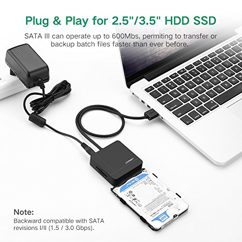 """UGREEN USB 3.0 to SATA Adapter TF SD Card Reader USB 3.0 Hub 2 Ports Converter 3 IN 1 for 2.5"""" 3.5"""" HDD Hard Drive, SSD drives with Power Adapter Support UASP SATA I II III by UGREEN (Image #3)"""