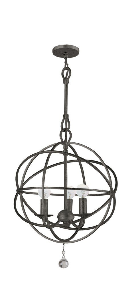 Crystorama 9225-EB Traditional Three Light Mini Chandeliers from Solaris collection in Bronze/Darkfinish,