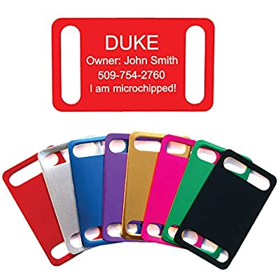 No Noise Collar Tags - Custom Engraved Slide-On Pet ID Tags- Perfect for Dogs or Cats - Durable and Silent. Various Colors and Sizes.