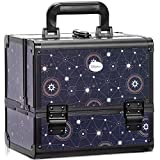 Joligrace Makeup Train Case Cosmetic Organizer Box Lockable with 3 Trays and a Brush Holder Pattern Collection - Star Chart