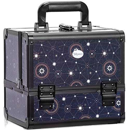 Joligrace Makeup Train Case Cosmetic Organizer Box Lockable with 3 Trays and a Brush Holder Pattern Collection - Star Chart -