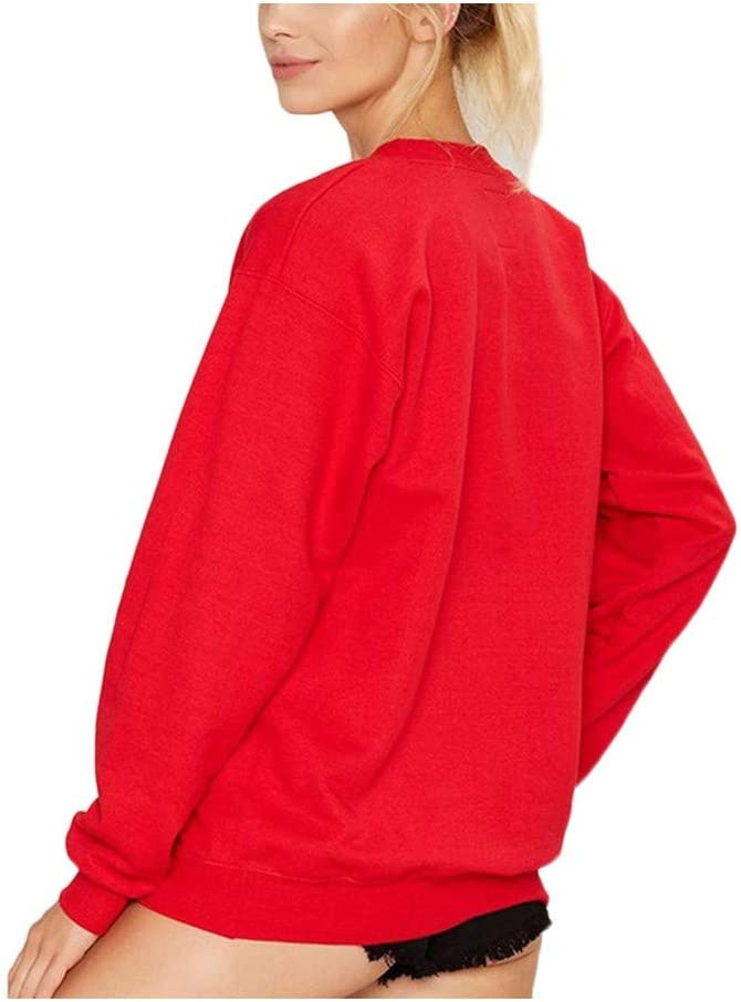 SWEAAY Frühlings-Und Herbst-Frauen-Sweatshirts Lösen Lange Hülsen-Buchstaben Lose Pullover-Sweatshirt 1
