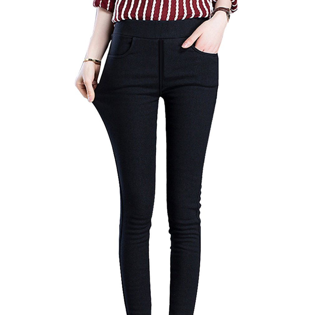 GUOLEZEEV Fleece Lined Leggings for Women Winter Elastic Waist Slim Fit Tights Black L