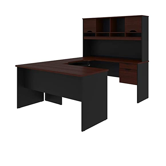 Bestar U-Shaped Desk with Dual Half Pedestal and Hutch – Innova