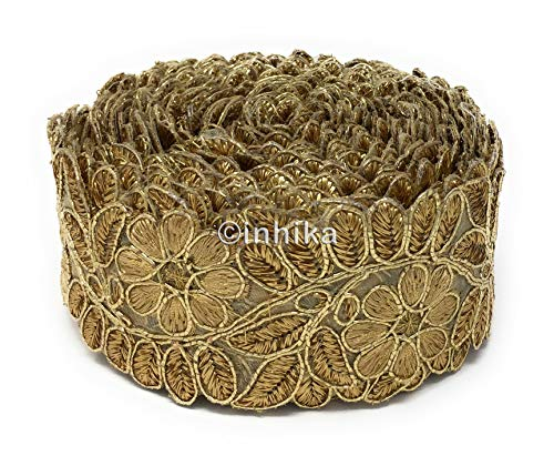 9 Yard Roll Lace Saree Border Applique Trim Ribbon in Gold Colour Base Gold Colour Embroidery, Edging Work (Gold Edging)