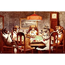 C.M. Coolidge A Friend in Need Dogs Playing Poker Tin Sign Art Print - 13x16