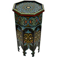 Moroccan Wood Side End Table Corner Coffee Handmade Hand Painted Moorish Tall Black