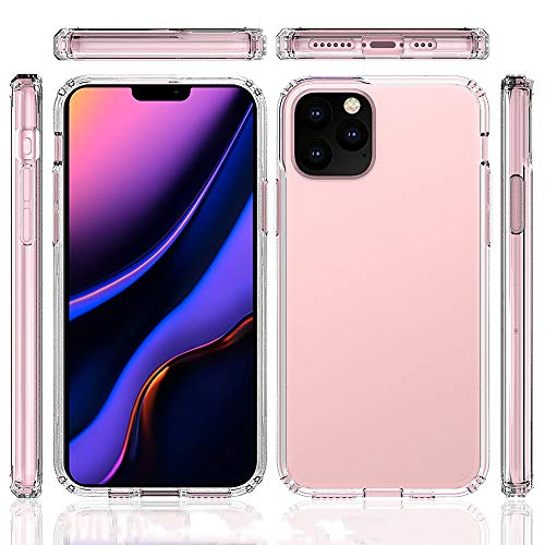 iPhone 11 Pro Max Clear Case with Screen Protector,PC TPU Hybrid 2 in 1 Protective Cover for iPhone 11 Max,Transparent Crystal iPhone 6.5 Inch case, Anti-Scratch Shockproof iPhone 11 Max Case 2019