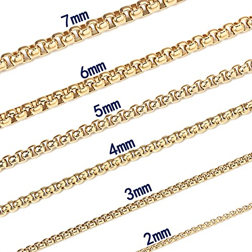 Chain Necklace Square Rolo Chain Necklace for Men Women Gold Stainless Steel Box Chain 3 mm 22