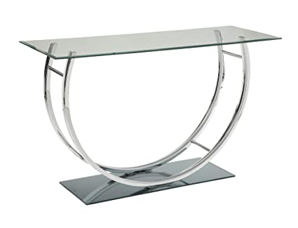 Merveilleux Coaster 704989 CO Glass Top Console Table, Chrome