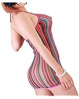 FasiCat Women Sexy Lingerie Rainbow Fishnet Mini Dress Novelty Stretch Chemise One Size Rainbow
