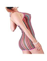 FasiCat Women Sexy Lingerie Rainbow Fishnet Mini Dress Novelty Stretch Chemise