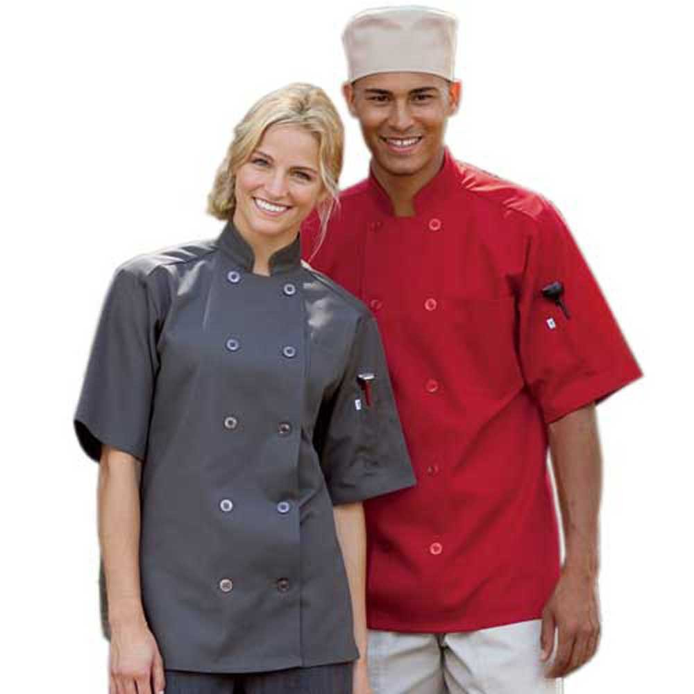 10 Button Short Sleeve Poplin Chef Coat