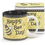 """""""Happy Bee Day"""" Honey Bumble Bee Coffee Mug Adorable Gift"""
