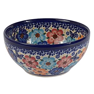 Traditional Polish Pottery, Handcrafted Ceramic Salad or Cereal Bowl 800 ml (d.16cm), Boleslawiec Style Pattern, M.702.Meadow