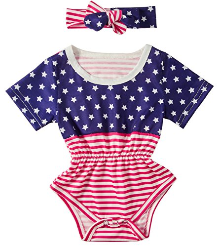 Leapparel Baby Boy Girl USA Flag American Stars Stripes Romper Bodysuit 4th of July Outfit Clothes Newborn Jumpsuits for 6-12 Months Little (Jump Usa Star)