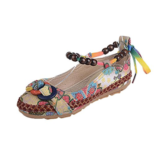 Haoricu Flat Shoes,Retro Women Ethnic Beading Round Toe Colorful Loafers Casual Embroidered Shoes (US:5.5, Multicolor)