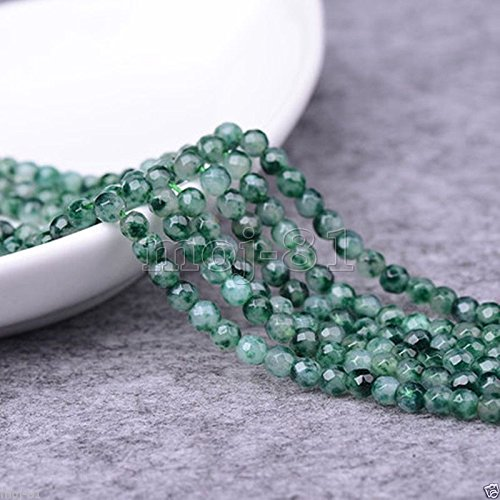 (6MM Genuine Natural Faceted Green Emerald Round Gemstone Loose Beads 15'' AAA)