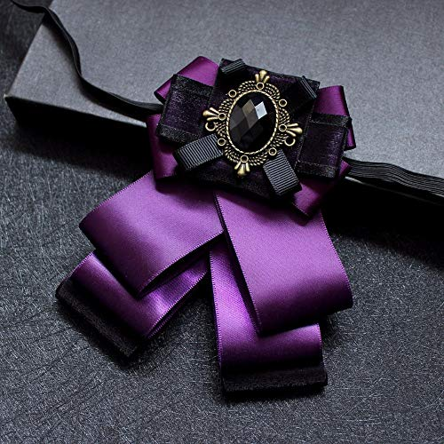 Cameo Flower Fabric Rhinestone Pins and Brooches Vintage Luxury Badge Cravat Broche for Men Purple ()