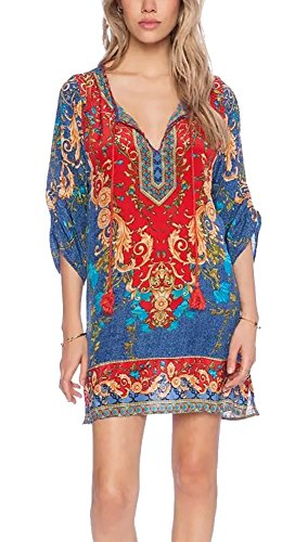 - Women Bohemian Dress Ethnic Style Vintage Printed Summer Shift Casual Dress Beach Cover Up
