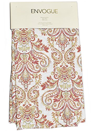 (Envogue Pascal Paisley Scrolls Medallions Window Panels 50 by 96-inch Set of 2 Floral Paisley Window Curtains Hidden Tabs Red Rust Orange Blue Gray Taupe Ivory (Red/White))