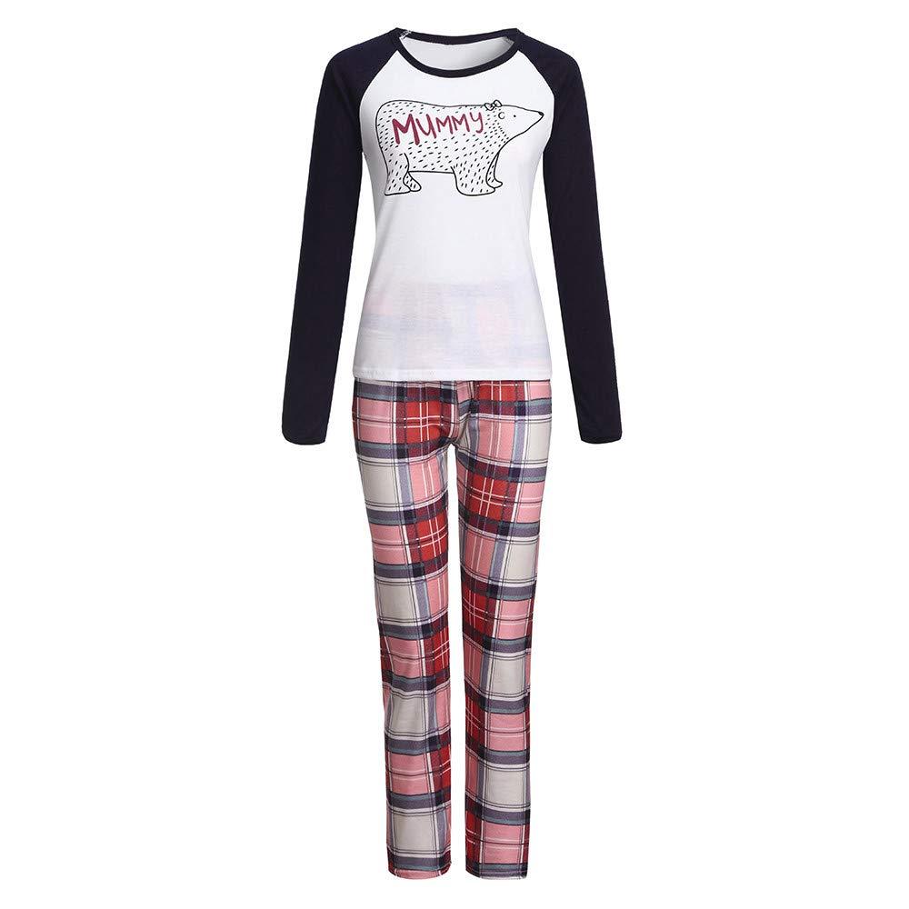 2fc7ddfe67 Amazon.com  FEDULK Christmas Matching Family Bear Plaid Print Sleepwear Xmas  Holiday Boys and Girls Pjs Set  Clothing