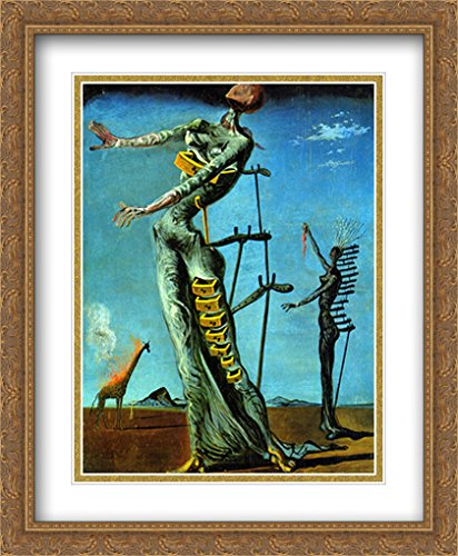Salvador Dali 2x Matted 28x34 Gold Ornate Large Framed Art Print 'The Burning Giraffe' by ArtDirect