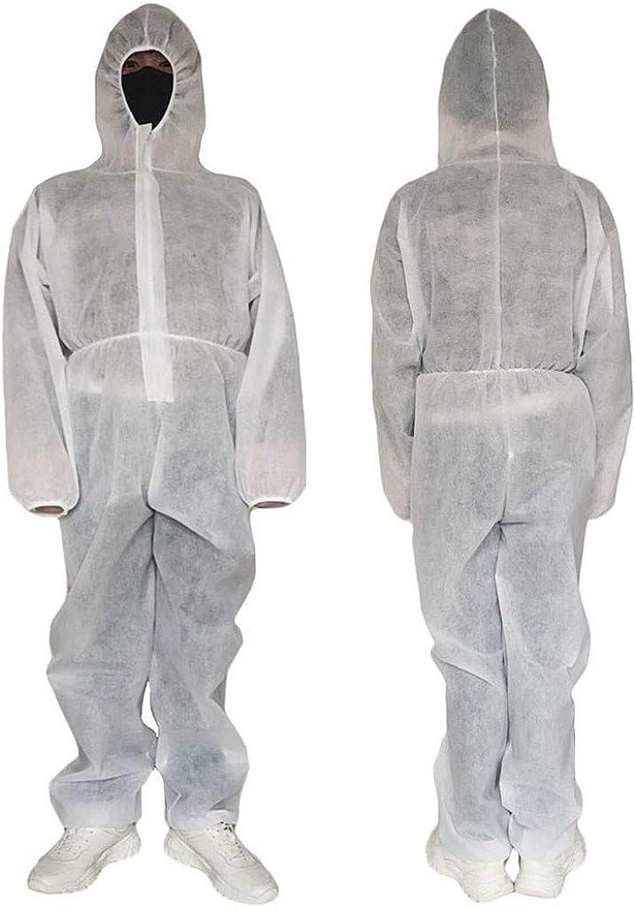 Einweg Overall Schutzanzug Elecenty Isolationsanzug Atmungsaktiver Isolationskleidung mit Kapuze Staubdichter Overall-Anzug Gegen Infektion