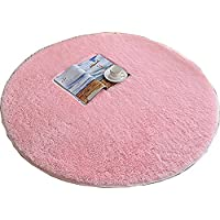 BRL MALL 4-Feet Round Area Rugs Super Soft Living Room Bedroom Carpet (Diameter 120cm, Pink)