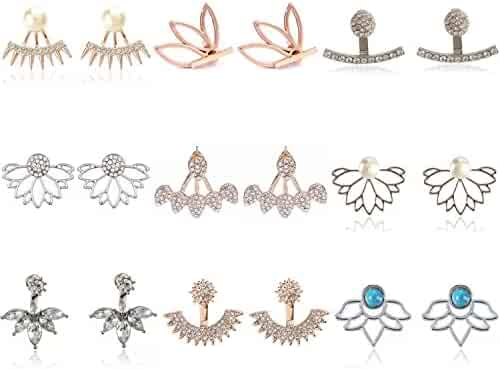 9 Pairs Rose Gold Silver Hollow Lotus Flower Earrings Simple Chic Crystal Pearl Turquoise Stud Earrings Set