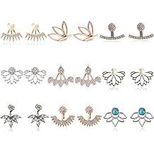 9 Pairs Rose Gold Silver Hollow Lotus Flower Earrings Simple Chic Crystal Pearl Turquoise Stud Earrings Set