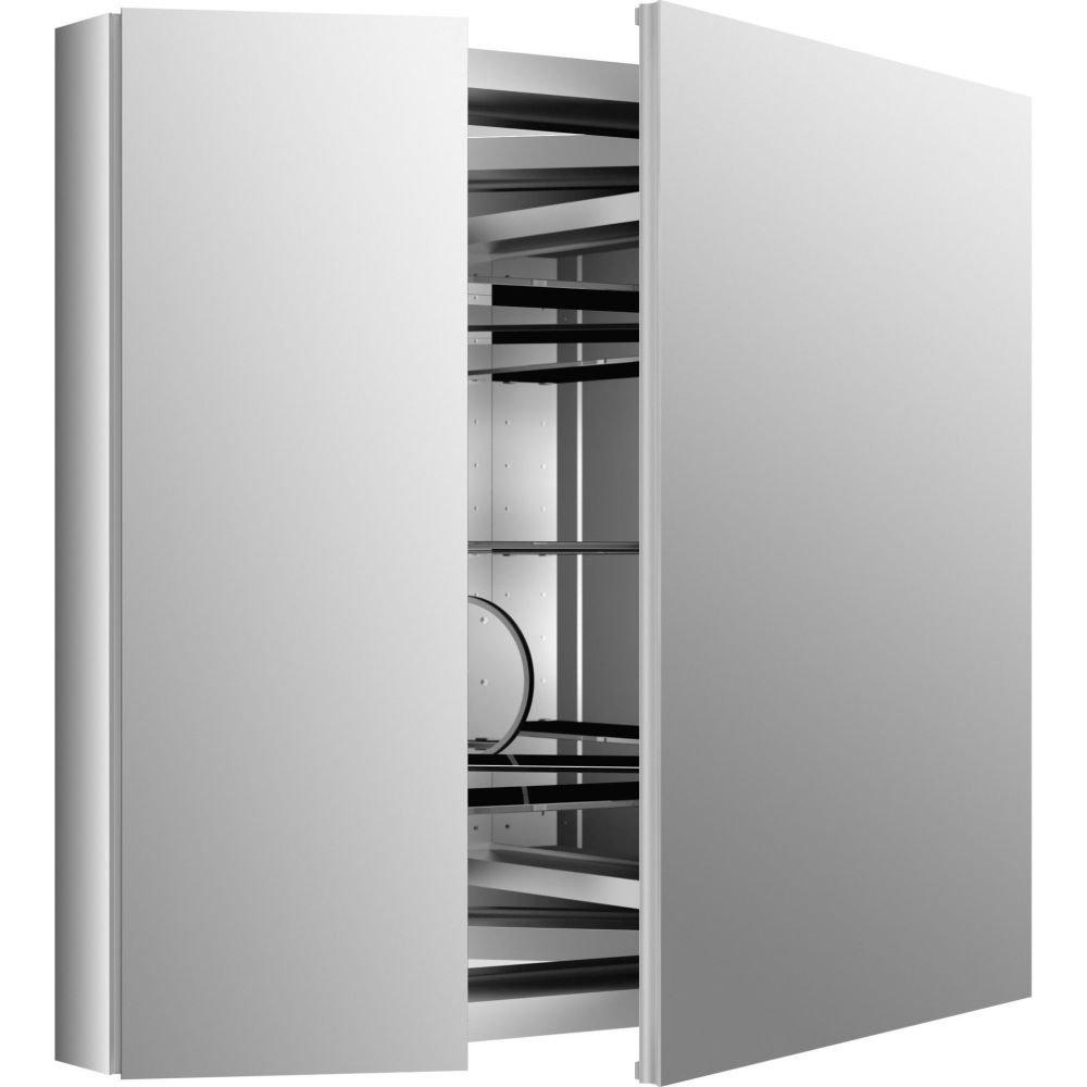KOHLER K-99009-NA Verdera 34'' W x 30'' H Aluminum Medicine Cabinet with Adjustable Magnifying Mirror and Slow-Close Door