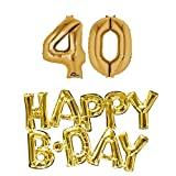 40th birthday party balloons supplies and decorations in Gold