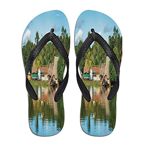 TecBillion Landscape Beach Flip Flops,Tropical Amazonian Riverside,for Men&Boys ()