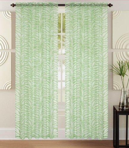 Lilian Sheer Zebra Print Panel 55x84 Lime Green