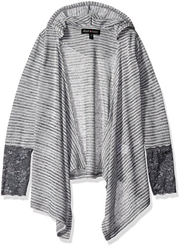 Derek Heart Big Girls' Long Sleeve Drop Shoulder Hooded Open Front Cardigan with Lace Cuffs, Grey, - Hooded Cardigan Girls