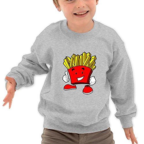 Honxjsnz Cartoon French Fries Toddler Girls&boys Lovely Warm Round Neck Sweatshirt 5-6 Toddler Ash