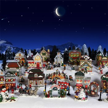61 piece cobblestone corners christmas village exclusive 2011 collection winter snow