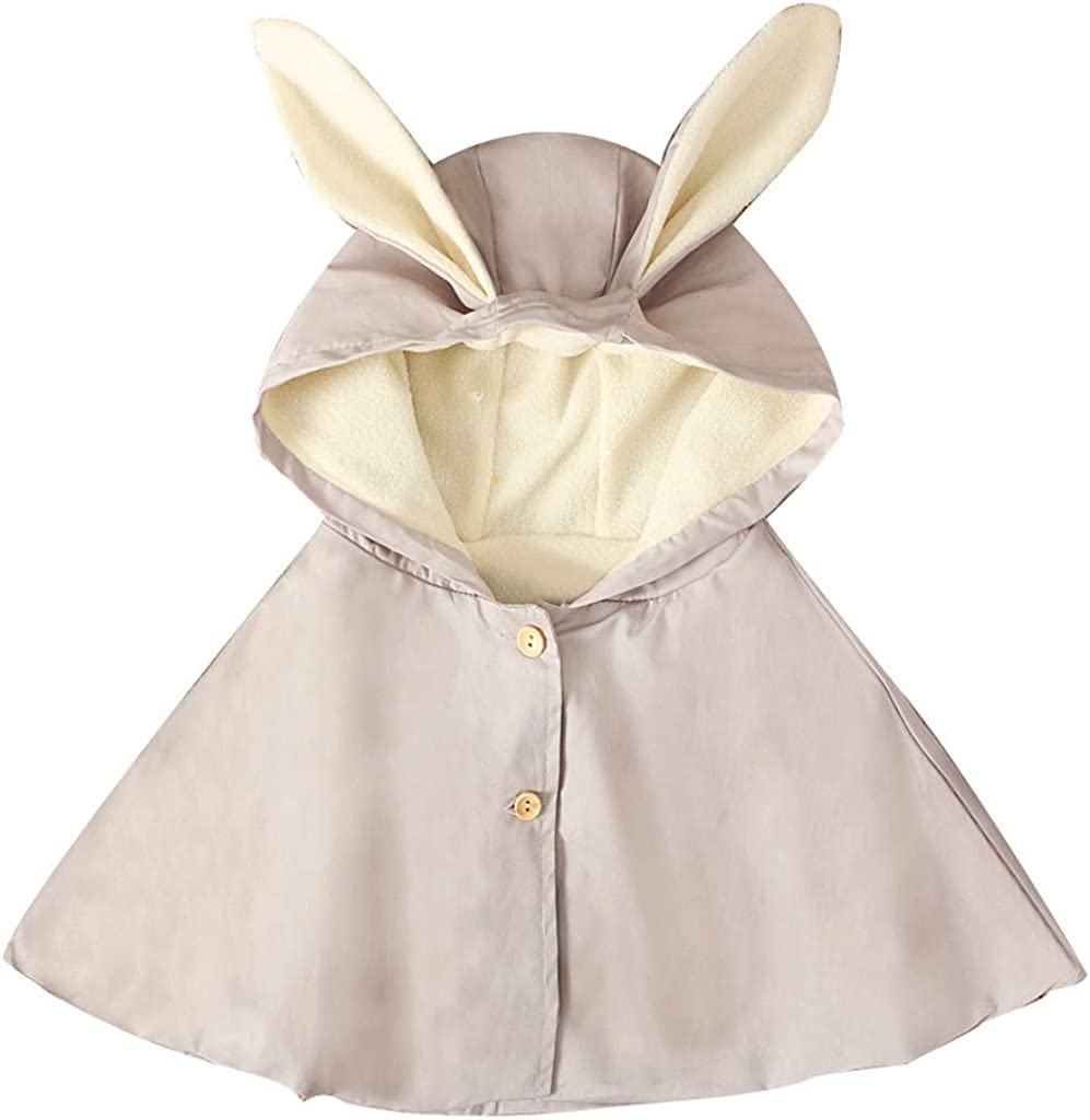 Toddler Baby Kids Girls Solid Rabbit Ear Hooded Mantle Cloak Coat Casual Clothes