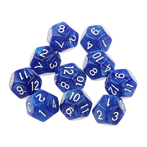 Pack of 10pcs Blue Twelve Sided D12 Dice Playing D&D Warhammer RPG Board Game - 12 Side Dice