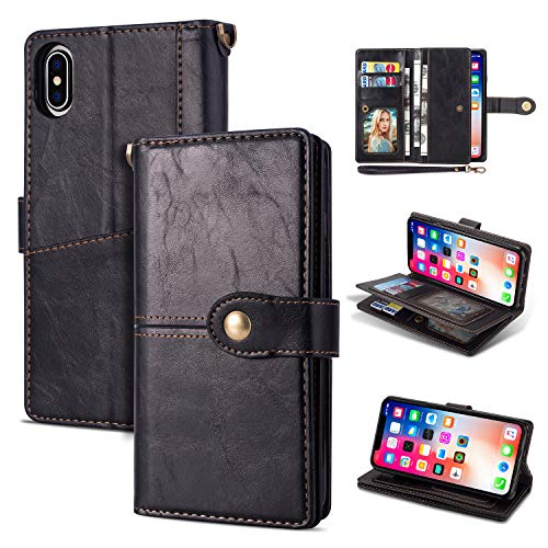 Black Friday Deals Cyber Monday Deals-iPhone Xr Case, iPhone Xr Wallet Case,Flip Leather Credit Card Holder Cash Pockets Wristlet Protective Case for iPhone Xr 6.1inch (Black)]()