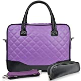 BRINCH(TM) 14.1inch Diamond Quilted Pattern Bubble Foam Padded Laptop Computer Notebook Sleeve Tote Briefcase Carry Case Messenger Shoulder Bag For Macbook Air/Pro 13.3 inch Hp Dell Sony (Purple)