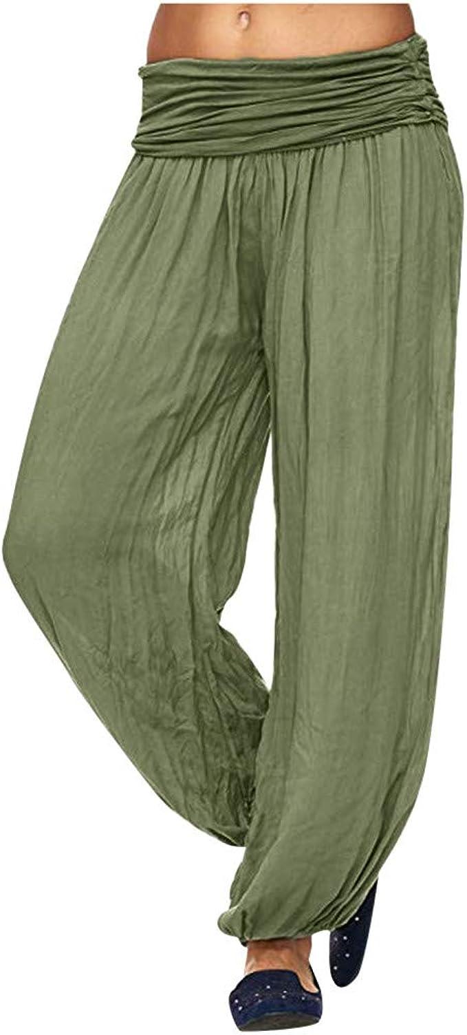 Muyise Damen Casual Haremshose Yoga Hosen Mit Gesmoktem Bund High Waist Weitem Bein Freizeithose Gedruckt Solid Plus Size Lose Beilaufige Weitehose Laternenhose Travel Pants Amazon De Bekleidung