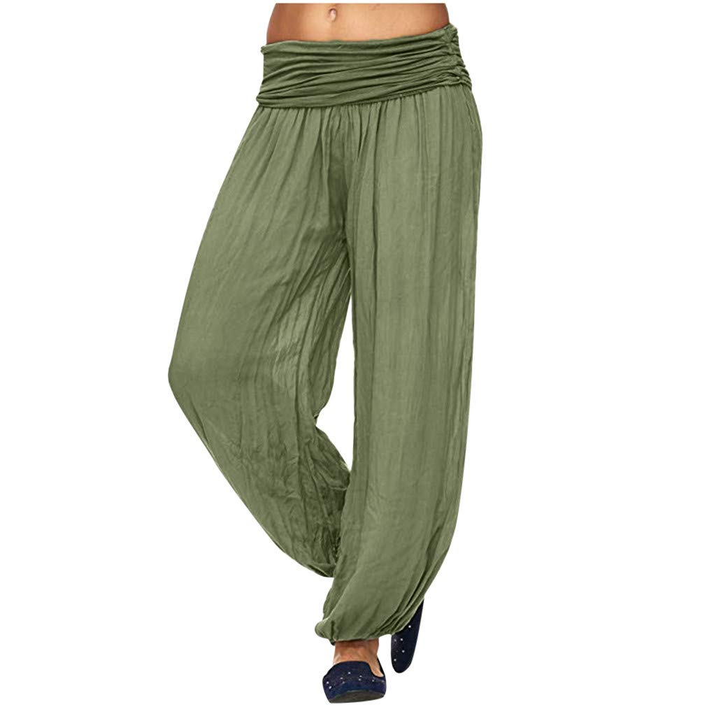 LUXISDE Trousers for Women High Waisted Women High Waist Harem Bandage Elastic Waist Stripe Casual Pants(Army Green,M) by LUXISDE (Image #2)