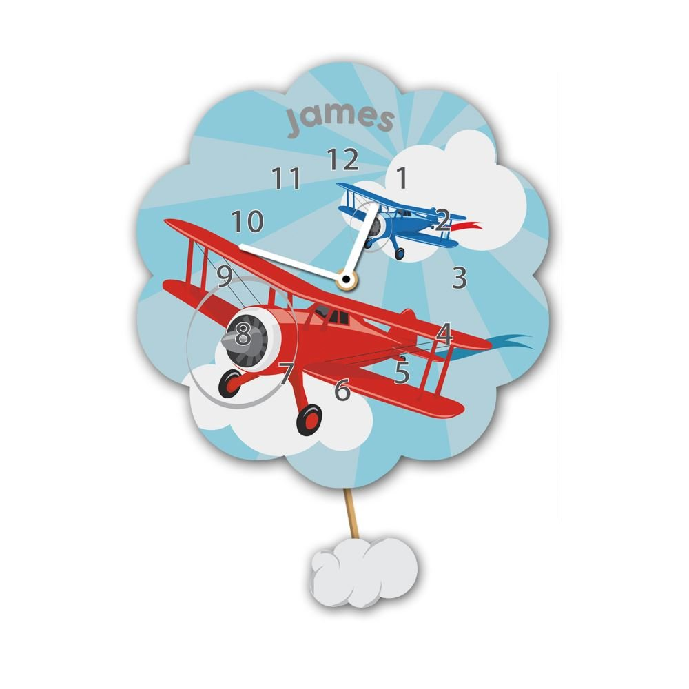 Kid's Flying Planes Personalised Silent Tick Wall Clock Forever Bespoke